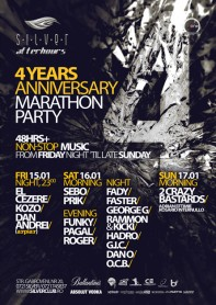 Silver, Afterhours, 4 years anniversary marathon party poster design by Alex Tass