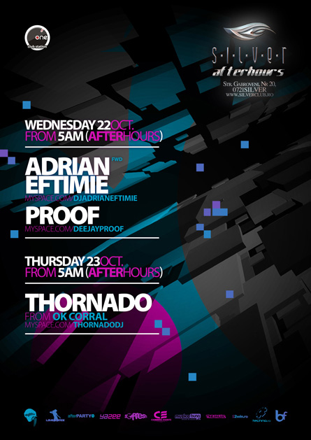 Silver, Afterhours, Adrian Eftimie, Proof, Thornado, poster design by Alex Tass