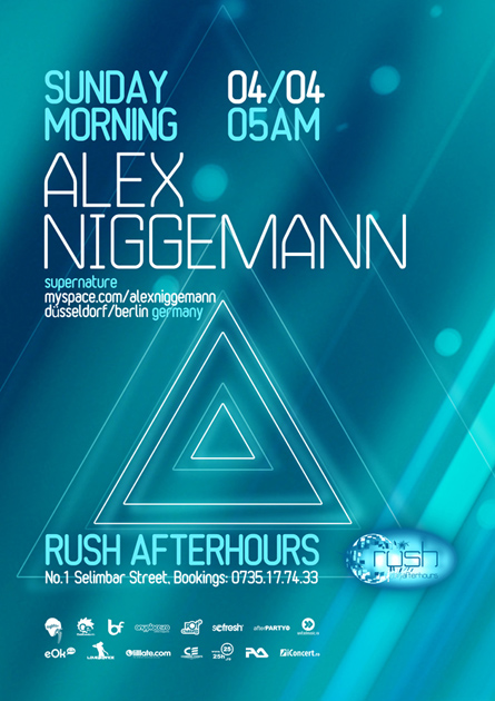 Rush Afterhours, Alex Niggemann, Supernature, poster design by Alex Tass