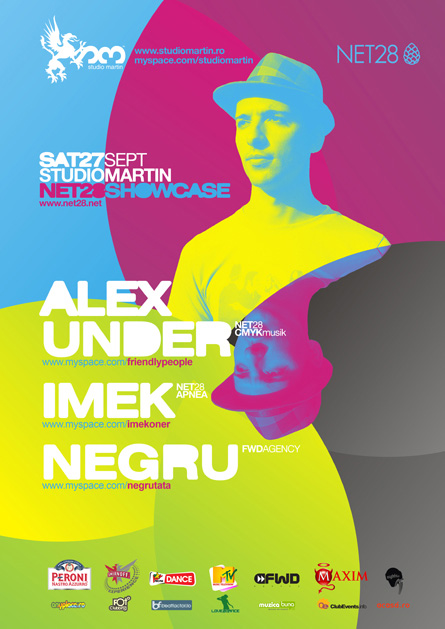 Alex Under, Imek, Negru, Net28 showcase, Studio Martin, poster design by Alex Tass