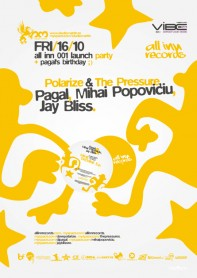 All Inn records 001 release party, Studio Martin, Pagal, Mihai Popoviciu, Jay Bliss, poster design by Alex Tass