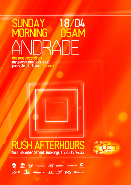 Rush Afterhours, Andrade, Dessous recordings, poster design by Alex Tass