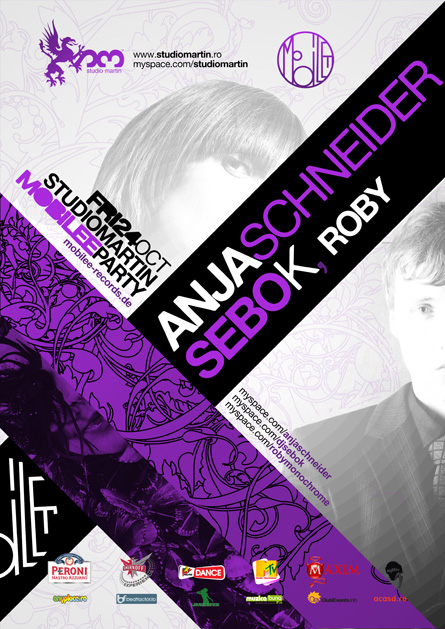 Anja Schneider, Sebo K, Roby, Mobilee party, Studio Martin, poster design by Alex Tass