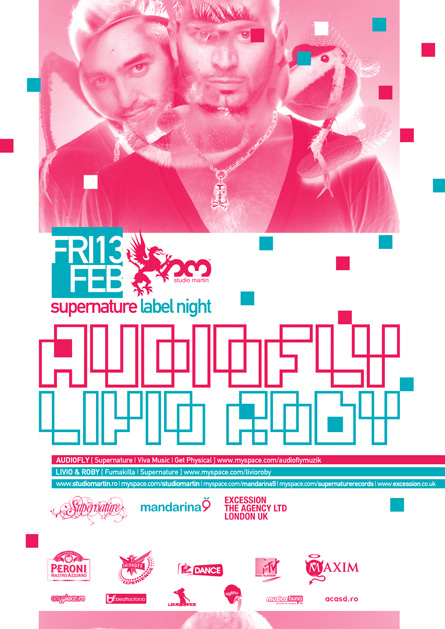 Audiofly, Livio and Roby, Supernature, label night, Studio Martin, poster design by Alex Tass