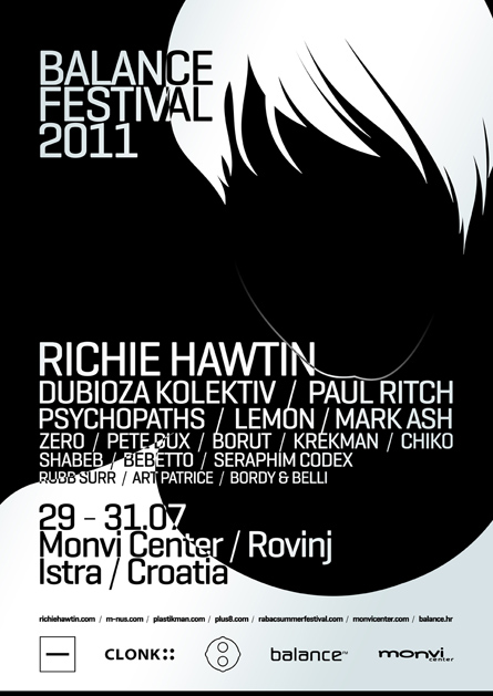 Balance Festival, Richie Hawtin, m_nus, Dubioza Kolektiv, Paul Ritch, Psychopaths, Lemon, Mark Ash, poster design by Alex Tass