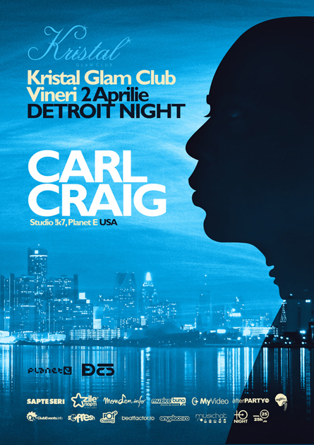 Detroit night, Carl Craig, Studio !K7, Kristal Glam Club, poster design by Alex Tass
