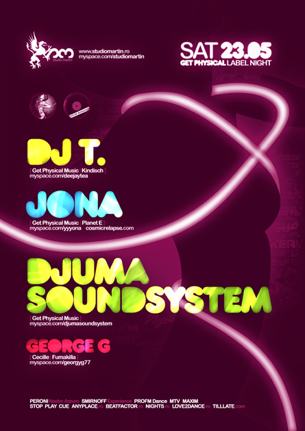 DJ T, Jona, Djuma Soundsystem, Get Physical, label night, Studio Martin, poster design by Alex Tass