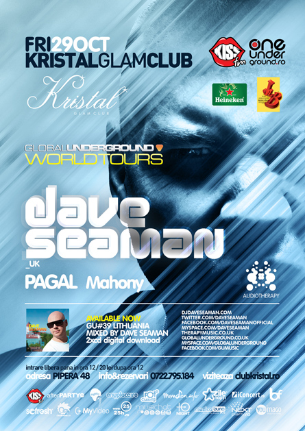 Kristal Glam Club, Dave Seaman, Pagal, poster design by Alex Tass