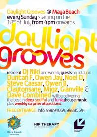 Daylight Grooves, party series, DJ Niki, Duncan F, Owen Jay, Noel D, Steve Caesar, Owen B, Claytonsane, Migz, Maya Beach, Malta, poster design by Alex Tass