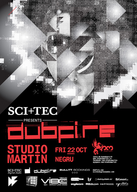 Dubfire, Negru, Sci+Tec night, Studio Martin, poster design by Alex Tass