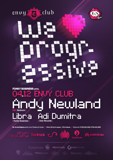 Andy Newland, Bedrock, Envy Club, We love progressive, poster design by Alex Tass