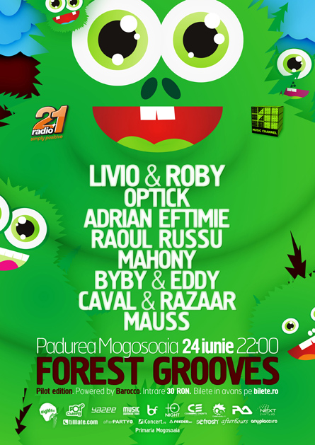 Livio and Roby, Optick, Adrian Eftimie, Mogosoaia, Forest Grooves, poster design by Alex Tass