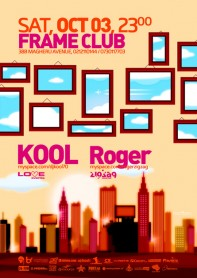 Kool, Frame Club, poster design by Alex Tass