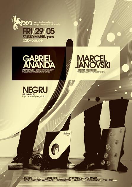 Gabriel Ananda, Marcel Janovski, b2b-tour.de, tour, night, Studio Martin, poster design by Alex Tass