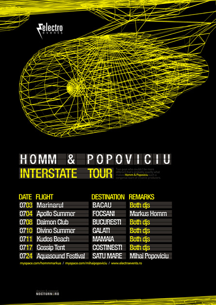 Homm and Popoviciu, Interstate tour, poster design by Alex Tass