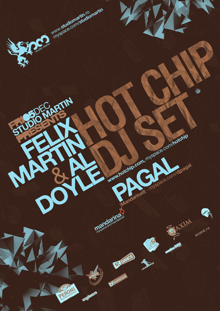 Hot Chip dj set, Felix Martin, Al Doyle, Pagal, Studio Martin, poster design by Alex Tass