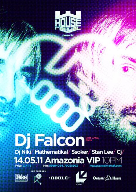 House Rawyal, DJ Falcon, Daft Crew, Amazonia VIP, Malta, poster design by Alex Tass