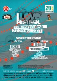Slyde, Ed Rush, Deekline, I love festival, Selectro stage, poster design by Alex Tass