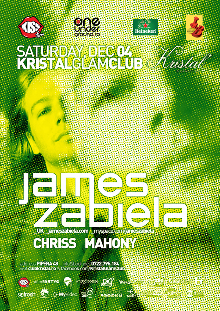James Zabiela, Kristal Glam Club, poster design by Alex Tass