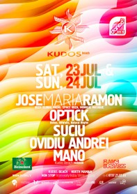Jose Maria Ramon, Optick, Mano, Kudos Beach, poster design by Alex Tass