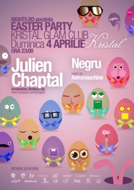 Julien Chaptal, Negru, Kristal Glam Club, Easter party, poster design by Alex Tass