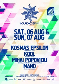 Kosmas Epsilon, Kool, Mihai Popoviciu, Mano, Kudos Beach, poster design by Alex Tass