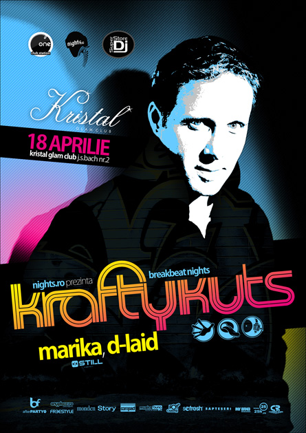 Krafty Kuts, Finger Lickin, Marika, D-laid, Kristal Glam Club, poster design by Alex Tass