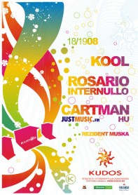Cartman, Justmusic.FM, Kool, Rosario Internullo, Kudos Beach, poster design by Alex Tass