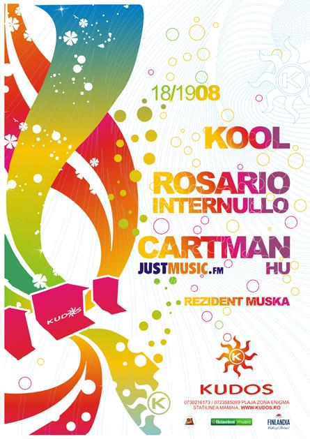 Cartman, Justmusic.FM, Kool, Rosario Internullo, Kudos Beach, poster design by Alex Tass
