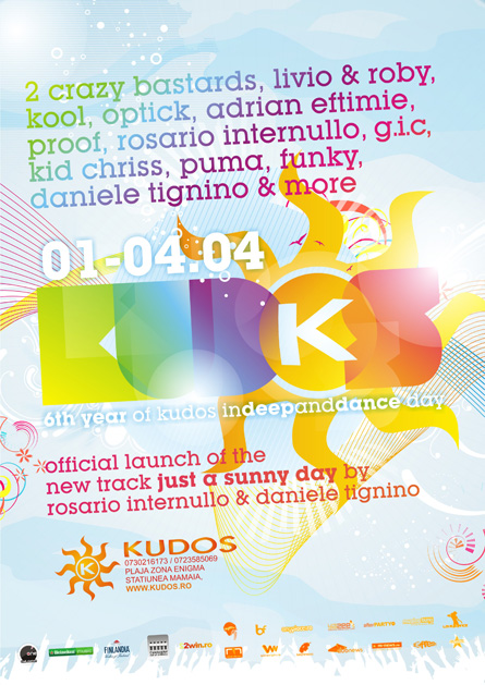 Daniele Tignino, Rosario Internullo, Adrian Eftimie, Livio and Roby, Kool, Optick, Kudos Beach, poster design by Alex Tass