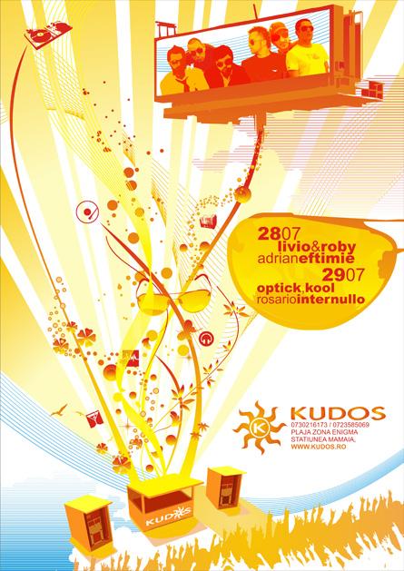 Livio and Roby, Optick, Kool, Rosario Internullo, Adrian Eftimie, Kudos Beach, poster design by Alex Tass