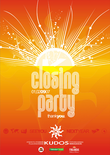Kudos Beach summer season closing party poster design by Alex Tass