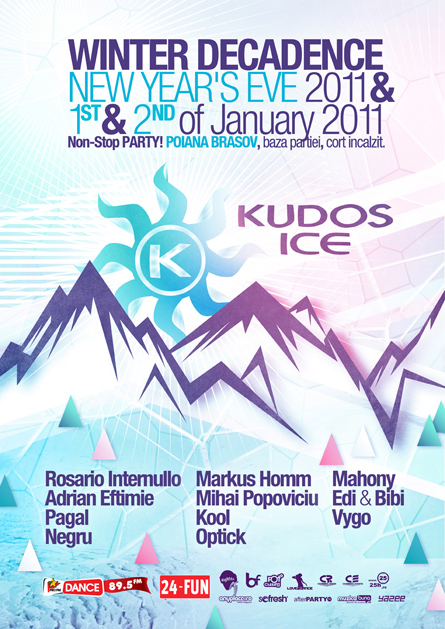 Rosario Internullo, Pagal, Negru, Kool, optick, Markus Homm, Mihai Popoviciu, Kudos Ice, NYE, winter decadence, 3 days, non-stop, party, marathon, poster design by Alex Tass