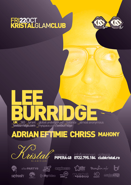 Kristal Glam Club, Lee Burridge, Global Underground, Balance, Adrian Eftimie, Chriss, poster design by Alex Tass