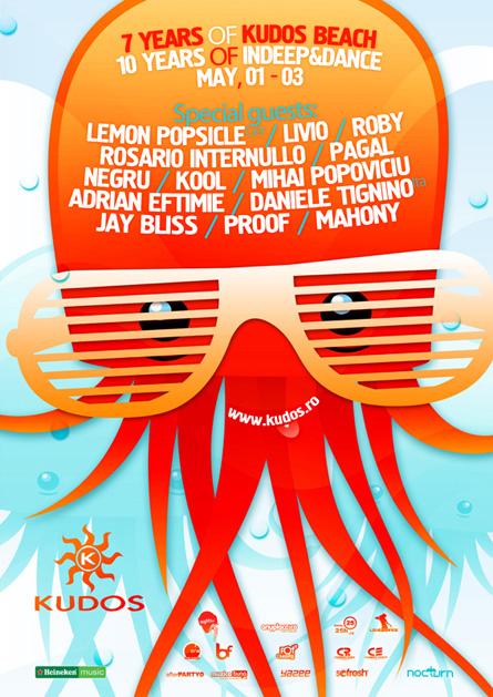 Lemon Popsicle, Daniele Tignino, Livio & Roby, Pagal, Negru, Kool, Mihai Popoviciu, Kudos Beach, 7 years anniversary, InDeep&Dance Day, 10 years anniversary, poster design by Alex Tass