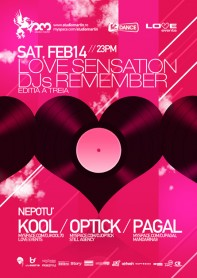 Love Events, Kool, Optick, Pagal, Studio Martin, poster design by Alex Tass