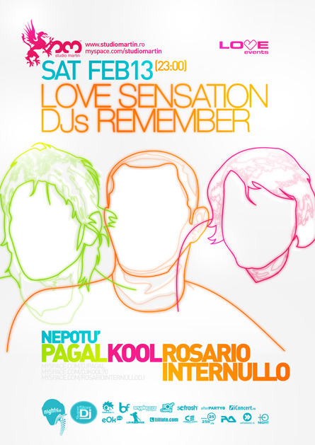 Love Events, Pagal, Kool, Rosario Internullo, Studio Martin, poster design by Alex Tass
