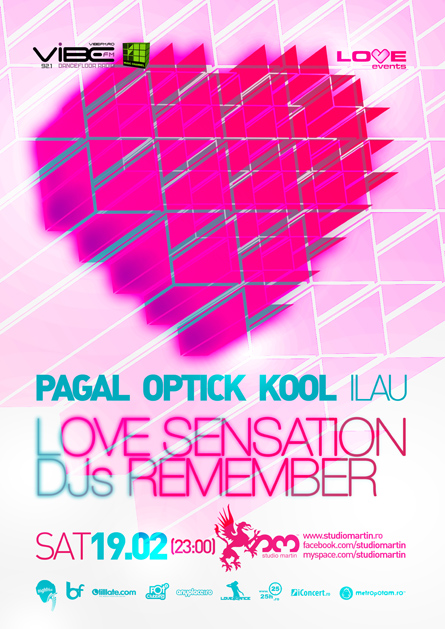 Love Events, Pagal, Optick, Kool, Studio Martin, poster design by Alex Tass