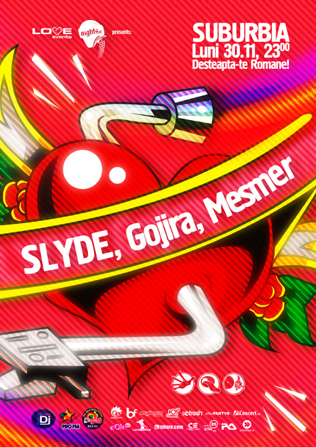 Love Events, Slyde, Finger Lickin, Gojira, Mesmer, Kristal Glam Club, poster design by Alex Tass