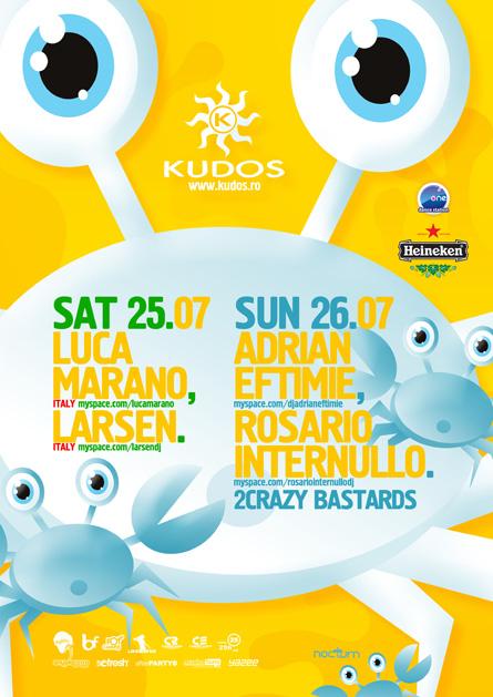 Kudos Beach, Luca Marano, Larsen, Adrian Eftimie, Rosario Internullo, poster design by Alex Tass