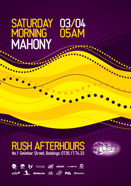 Rush, afterhours, Mahony poster design by Alex Tass
