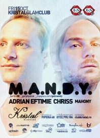 Kristal Glam Club, Mandy, Get Physical, Adrian Eftimie, Chriss, poster design by Alex Tass