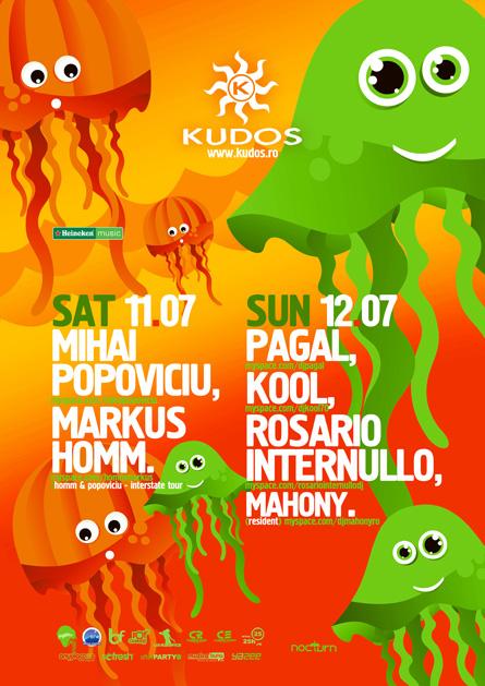 Kudos Beach, Mihai Popoviciu, Markus Homm, Pagal, Kool, Rosario Internullo, poster design by Alex Tass