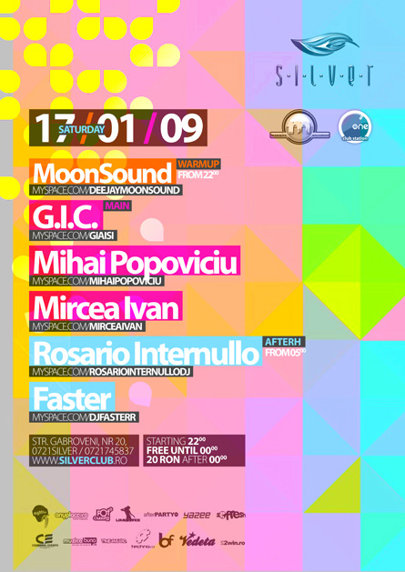 Silver, Afterhours, MoonSound, Mihai Popoviciu, GIC, Rosario Internullo, poster design by Alex Tass