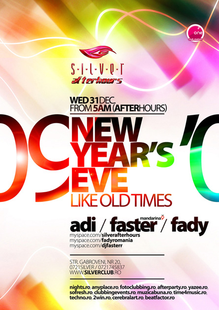NYE, Adi, Faster, Fady, Silver, Afterhours, poster design by Alex Tass