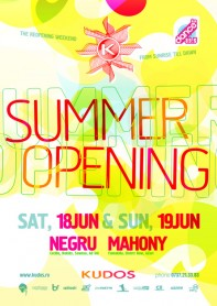 Summer opening, Negru, Mahony, Kudos Beach, poster design by Alex Tass