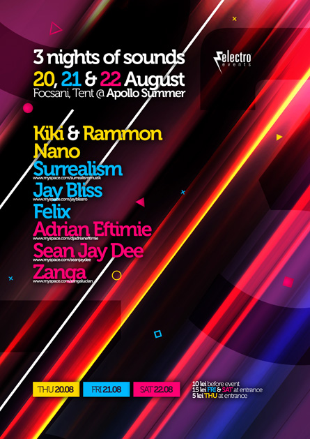 Electro Events, Jay Bliss, Surrealism, Adrian Eftimie, Nights of sounds, Apollo summer, poster design by Alex Tass