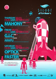 Silver, Afterhours, Optick, Faster, Mahony, GIC, poster design by Alex Tass