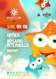 Kudos Beach, Optick, Rosario Internullo, Mahony, poster design by Alex Tass