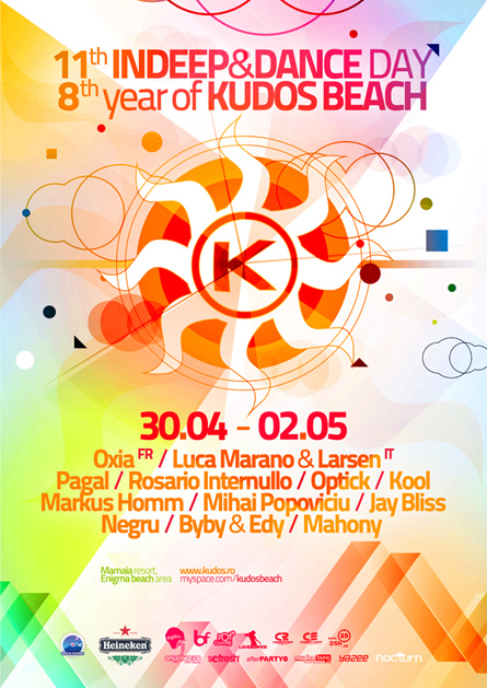 Oxia, Kabale und Liebe, Luca Marano & Larsen, Pagal, Negru, Markus Homm, Mihai Popoviciu, Rosario Internullo, Optick, Kool, Kudos Beach, 8 years anniversary, InDeep&Dance Day, 11 years anniversary, poster design by Alex Tass